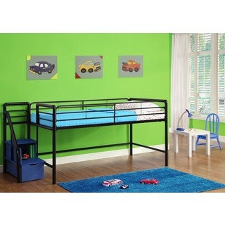 DHP Black Junior Twin Loft Bed with Storage Steps with Optional Curtains