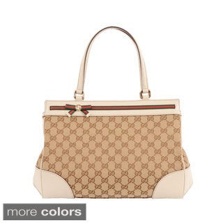Gucci 'Mayfair' Medium Canvas and Leather Tote Bag