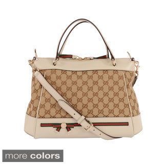 Gucci 'Mayfair' Small Leather and Canvas Top Handle Bag