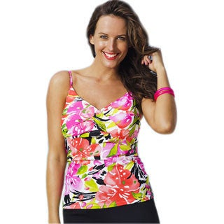Shore Club Isla Aves Women's Plus Size Twist-front Tankini Top
