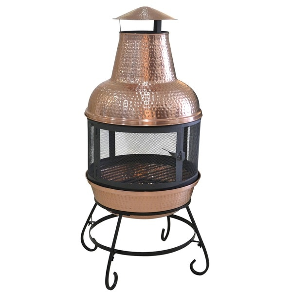 Portable Wood Burning Fire Pit : Copper chiminea outdoor fireplace wood burning stove