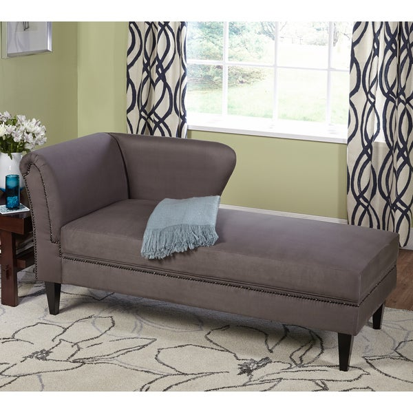 Simple living jaz grey storage chaise overstock for Ashland chaise storage lounge