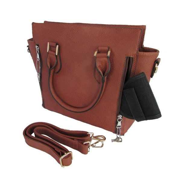 Key Locked Concealed Carry Top-handle Leatherette Tote