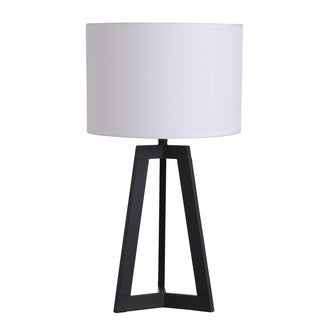Illuminada 23.62-Inch Black Triangle Table Lamp with White Drum Shade
