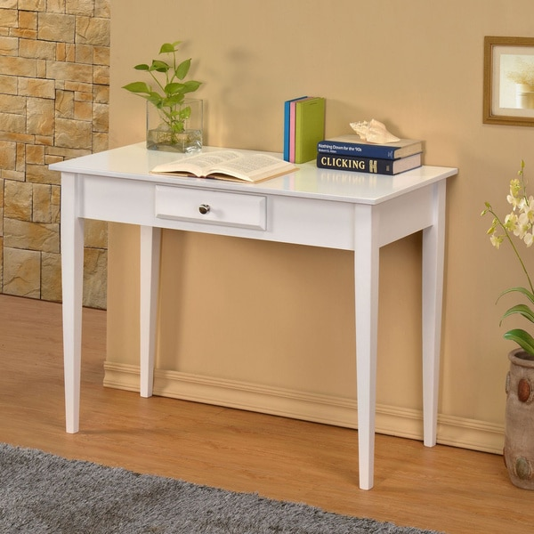 William S Home Furnishing Bodai White 1 Drawer Desk
