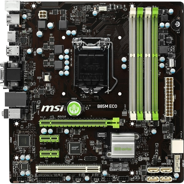 MSI B85M ECO Desktop Motherboard - Intel B85 Express Chipset - Socket