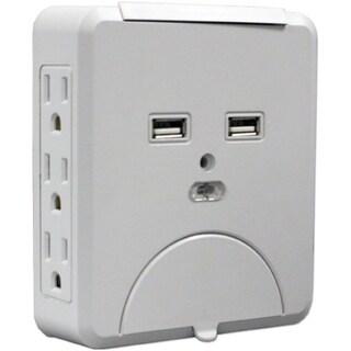 QVS Wallmount Power Block with Dual-USB Ports