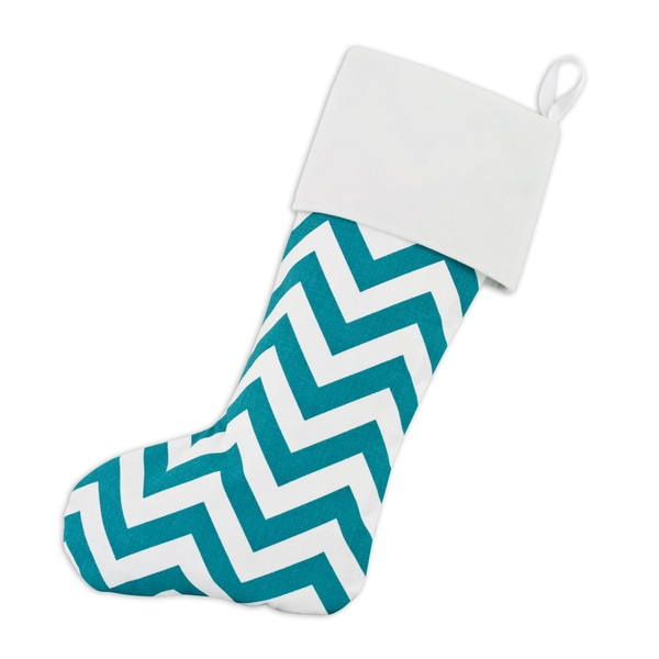 Zig-zag Turquoise Lined Trimmed Stocking