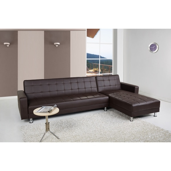 Frankfort Dark Brown Convertible Sectional Sofa Bed