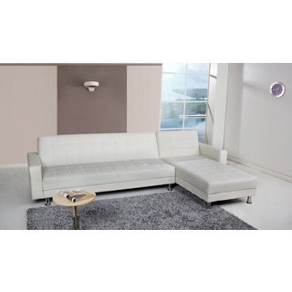 Frankfort White Convertible Sectional Sofa Bed