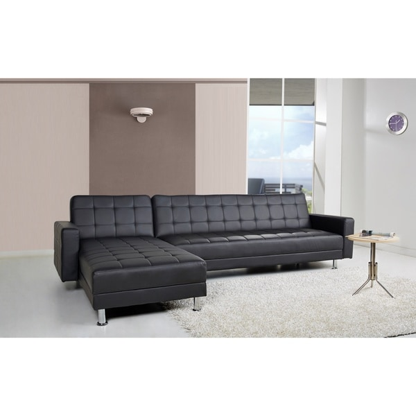 Frankfort black convertible sectional sofa bed 16614366 for Sofa bed overstock