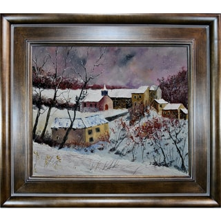 Pol Ledent 'Snow in Houroy 67 ' Framed Fine Art Print