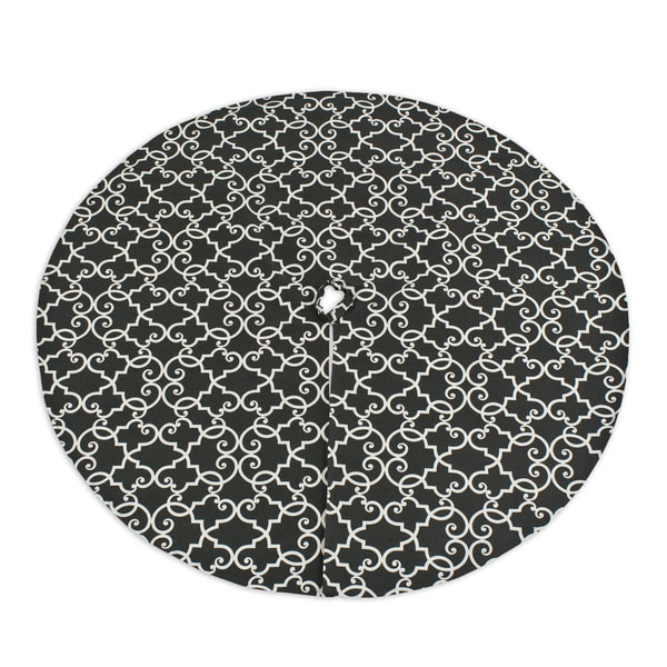 Woburn Slate Filigree Print 53-inch Lined Round Tree Skirt