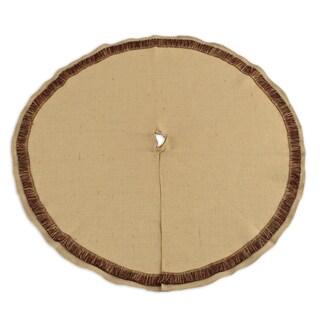 Burlap Natural 51-inch Round Fringed Tree Skirt