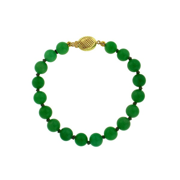 14k Yellow Gold Chinese Jade Rope-chain Bracelet