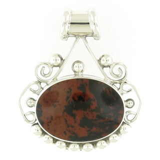 Handcrafted Sterling Silver Oval Brown and Black Jasper Bead Edge Pendant (Mexico)
