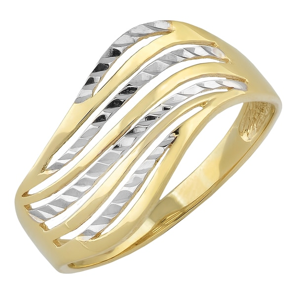 Fremada 10k Two-tone Gold Wave Design Ring