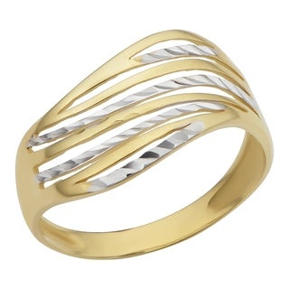 Fremada 10k Two-tone Gold Wave Design Ring