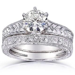 Annello 14k White Gold Moissanite and 1/4ct TDW Diamond Bridal Set (G-H, I1-I2)