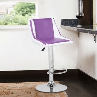 Adeco Purple/ White Hydraulic Lift Adjustable Barstool Chair, Leather-Look (Set of 2)