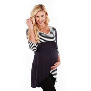 Women's 3/4-sleeve Black/ White Stripped Dress