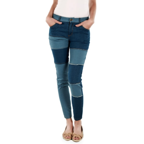 Firmiana Women's Blue Patch Denim Skinny Jeans