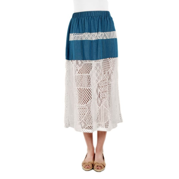 Firmiana Women's Blue Denim White Lace Skirt