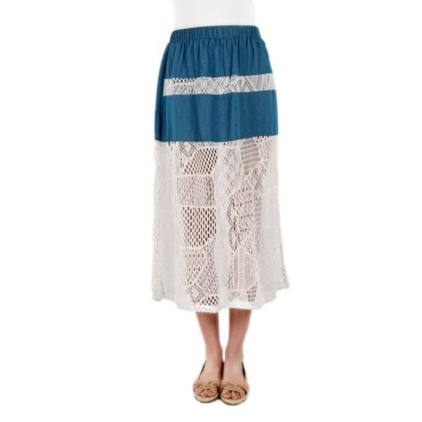 Firmiana Women's Blue Denim White Lace Skirt