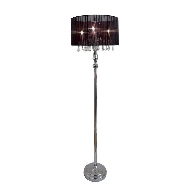 elegant designs trendy sheer shade floor lamp and hanging crystals. Black Bedroom Furniture Sets. Home Design Ideas