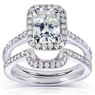 Annello 14k White Gold Radiant-cut Moissanite 1/2ct TDW Round-cut Diamond Bridal Set (G-H, I1-I2)