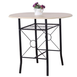 Adeco Beech Color Wood Bistro Table with Metal Frame, Shelf
