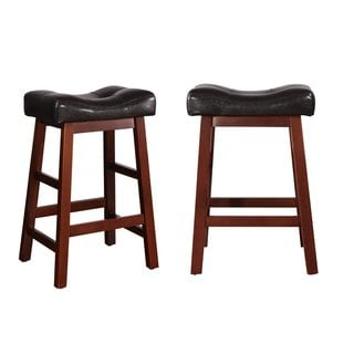 Adeco Black Leatherette, Walnut Color Wood Stool (Set of 2)