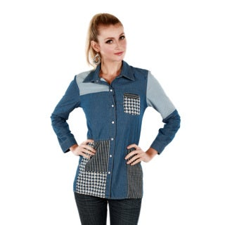 Women's Two-tone Denim Long Sleeve Button-front Top