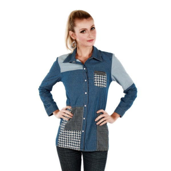 Firmiana Women's Two-tone Denim Long Sleeve Button-front Top