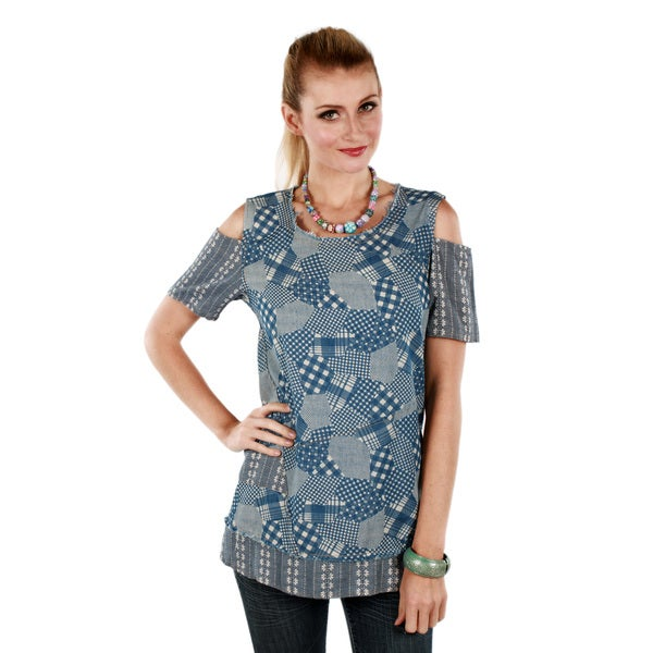 Firmiana Women's Blue Patchwork Pattern Open-sleeve Top