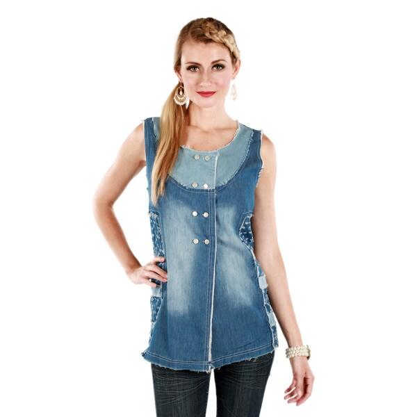 Firmiana Women's Floral Blue Denim Sleeveless Top