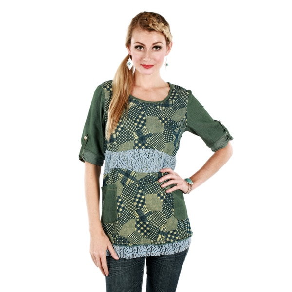 Firmiana Women's Green Multi-pattern Lace 3/4-sleeve Top