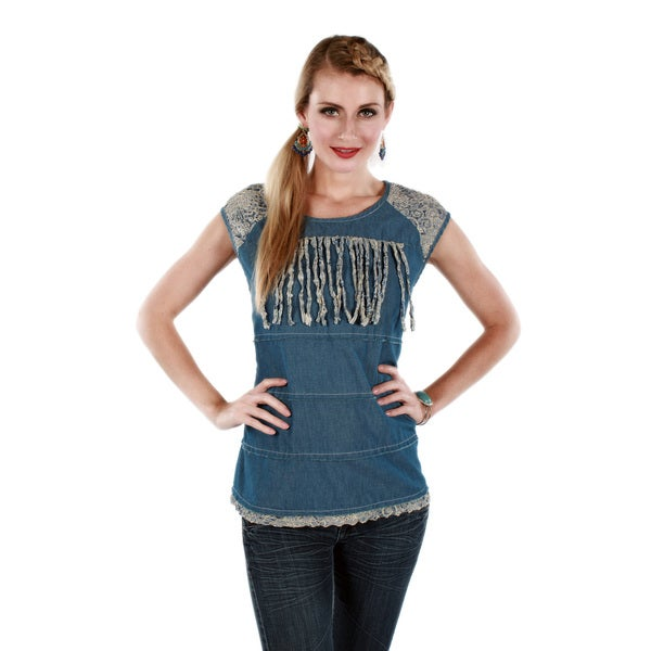 Firmiana Women's Cap Sleeve Lace Denim Top