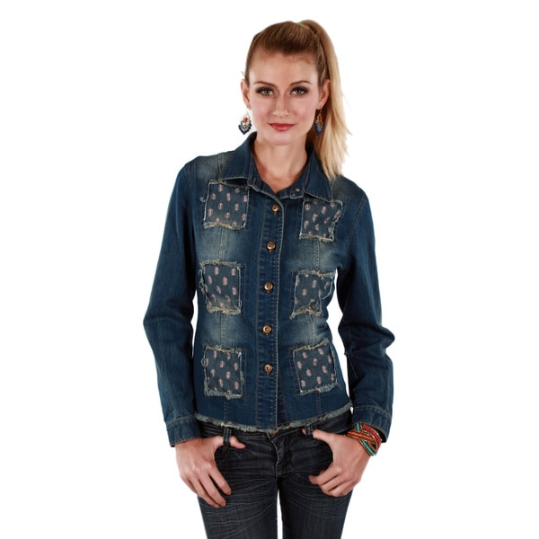 Firmiana Women's Long Sleeve Button-up Denim Jacket