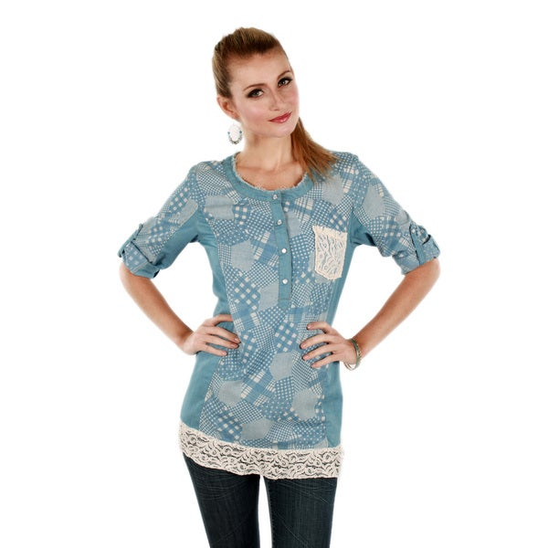 Firmiana Women's Blue Multi-pattern Lace Denim Top