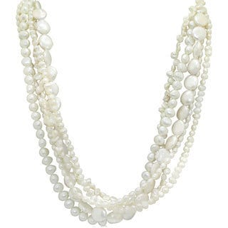 Sterling Silver Multi Variety Pearl Strand Twist Necklace (11 mm)