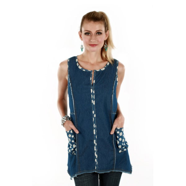 Firmiana Women's Denim Polka-dot Trim Sleeveless Tunic