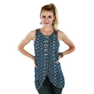 Women's Blue Sleeveless Button-down Reversible Top