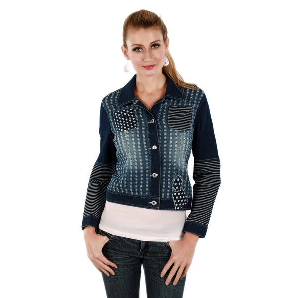 Firmiana Women's Blue Long Sleeve Distressed Denim Jacket