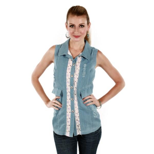 Firmiana Women's Blue Denim Lace Sleeveless Top