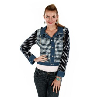 Women's Hooded Houndtooth Polka-dot Denim Jacket