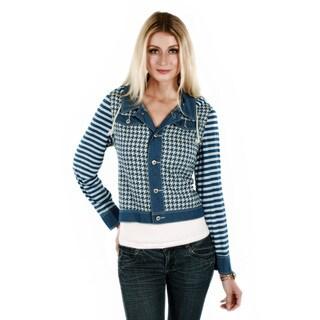 Women's Blue Long Sleeve Hooded Denim Jacket