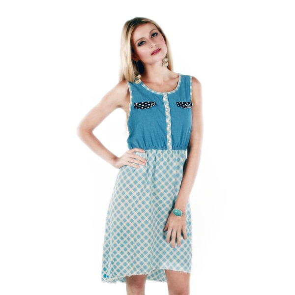 Firmiana Women's Blue/ White Sleeveless Diamond Pattern Dress
