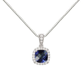 Sterling Silver Created Blue Sapphire and Created White Sapphire Halo Pendant Necklace