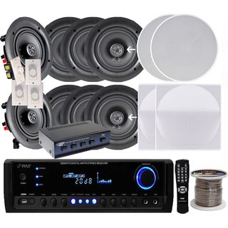 Pyle KTHSP390 4 Pairs of 150W 5.25-inch In-ceiling Speakers with 300W Receiver/Amplifier